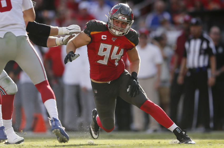 TAMPA, FLORIDA - SEPTEMBER 22: Carl Nassib #94 of the Tampa Bay Buccaneers in action against the New York Giants during the third quarter at Raymond James Stadium on September 22, 2019 in Tampa, Florida. (Photo by Michael Reaves/Getty Images)