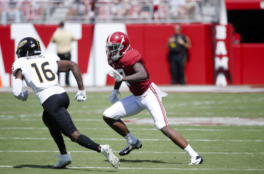 TUSCALOOSA, AL - SEPTEMBER 21: Trevon Diggs #7 of the Alabama Crimson Tide in action on defense during a game against the Southern Mississippi Golden Eagles at Bryant-Denny Stadium on September 21, 2019 in Tuscaloosa, Alabama. Alabama defeated Southern Miss 49-7. (Photo by Joe Robbins/Getty Images)