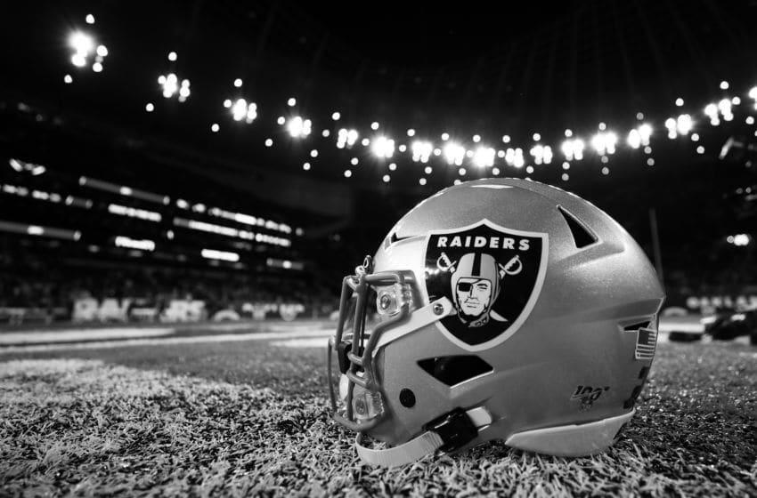 LONDON, ENGLAND - OCTOBER 06: (EDITORS NOTE - This image has been converted to black and white) Oakland Raiders helmet is seen on the field after the game between Chicago Bears and Oakland Raiders at Tottenham Hotspur Stadium on October 06, 2019 in London, England. (Photo by Naomi Baker/Getty Images)