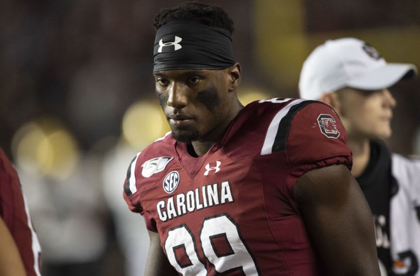 COLUMBIA, SC - NOVEMBER 02: Wide receiver Bryan Edwards #89 of the South Carolina Gamecocks prior to their game against the Vanderbilt Commodores at Williams-Brice Stadium on November 2, 2019 in Columbia, South Carolina. (Photo by Michael Chang/Getty Images)
