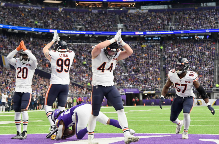 MINNEAPOLIS, MINNESOTA - DECEMBER 29: Nick Kwiatkoski #44 of the Chicago Bears celebrates with his teammates after tackling Mike Boone #23 of the Minnesota Vikings in the end zone for a safety during the second quarter of the game at U.S. Bank Stadium on December 29, 2019 in Minneapolis, Minnesota. (Photo by Hannah Foslien/Getty Images)