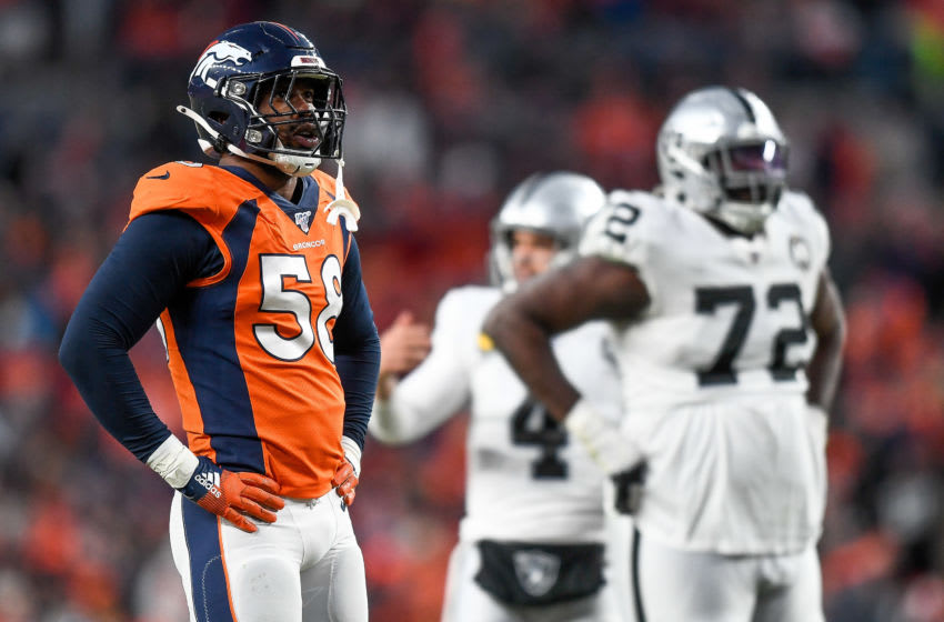 DENVER, CO - DECEMBER 29: Von Miller #58 of the Denver Broncos stands on the field during a game against the Oakland Raiders at Empower Field at Mile High on December 29, 2019 in Denver, Colorado. (Photo by Dustin Bradford/Getty Images)