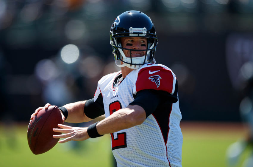 OAKLAND, CA - SEPTEMBER 18: Quarterback Matt Ryan #2 of the Atlanta Falcons warms up before the game against the Oakland Raiders at Oakland-Alameda County Coliseum on September 18, 2016 in Oakland, California. The Atlanta Falcons defeated the Oakland Raiders 35-28. Photo by Jason O. Watson/Getty Images)