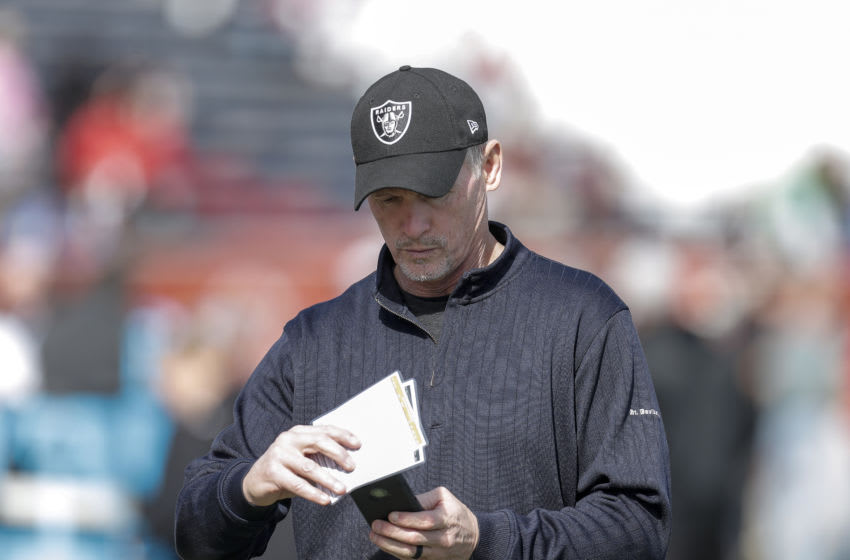 MOBILE, AL - JANUARY 26: General Manager Mike Mayock of the Oakland Raiders of the North Team on the field before the start of the 2019 Reese's Senior Bowl at Ladd-Peebles Stadium on January 26, 2019 in Mobile, Alabama. The North defeated the South 34 to 24. (Photo by Don Juan Moore/Getty Images)