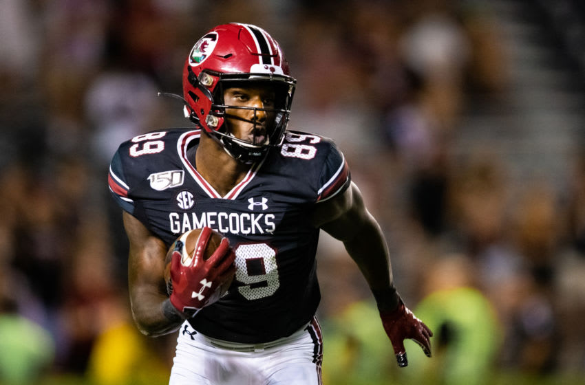COLUMBIA, SC - SEPTEMBER 28: Bryan Edwards #89 of the South Carolina Gamecocks rushes during a game against the Kentucky Wildcats at Williams-Brice Stadium on September 28, 2019 in Columbia, South Carolina. (Photo by Carmen Mandato/Getty Images)