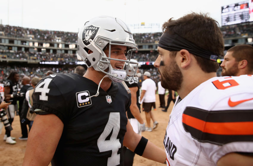 OAKLAND, CA - SEPTEMBER 30: Derek Carr #4 of the Oakland Raiders talks with Baker Mayfield #6 of the Cleveland Browns after their game at Oakland-Alameda County Coliseum on September 30, 2018 in Oakland, California. (Photo by Ezra Shaw/Getty Images)