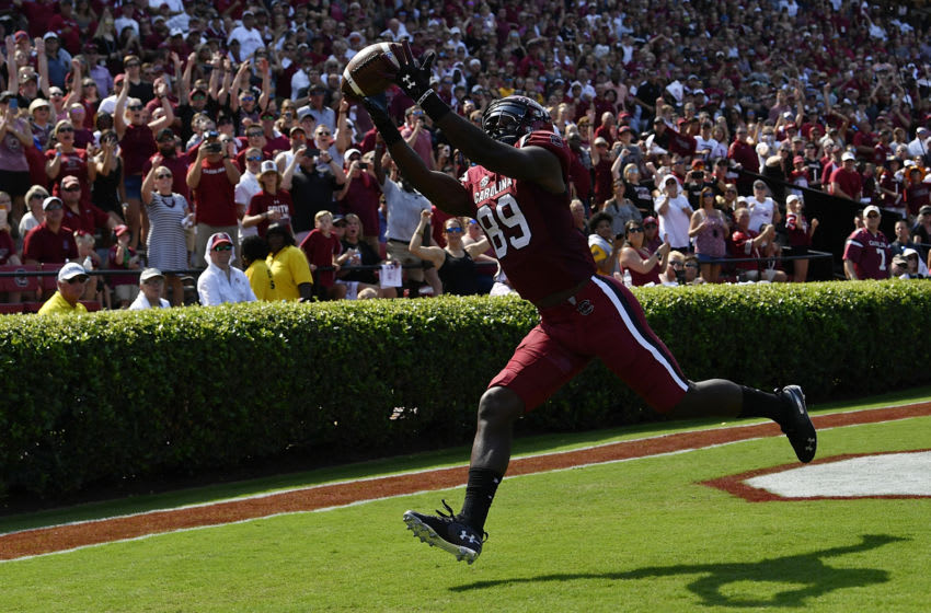 COLUMBIA, SC - OCTOBER 06: Wide receiver Bryan Edwards #89 of the South Carolina Gamecocks makes a touchdown reception against the Missouri Tigers during the first quarter of the football game at Williams-Brice Stadium on October 6, 2018 in Columbia, South Carolina. (Photo by Mike Comer/Getty Images)