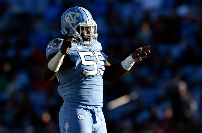 CHAPEL HILL, NORTH CAROLINA - NOVEMBER 17: Jason Strowbridge #55 of the North Carolina Tar Heels reacts after a turnover by the Western Carolina Catamounts during the first half of their game at Kenan Stadium on November 17, 2018 in Chapel Hill, North Carolina. (Photo by Grant Halverson/Getty Images)