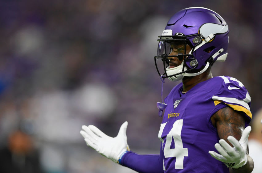 MINNEAPOLIS, MINNESOTA - SEPTEMBER 22: Stefon Diggs #14 of the Minnesota Vikings looks on before the game against the Oakland Raiders at U.S. Bank Stadium on September 22, 2019 in Minneapolis, Minnesota. (Photo by Hannah Foslien/Getty Images)