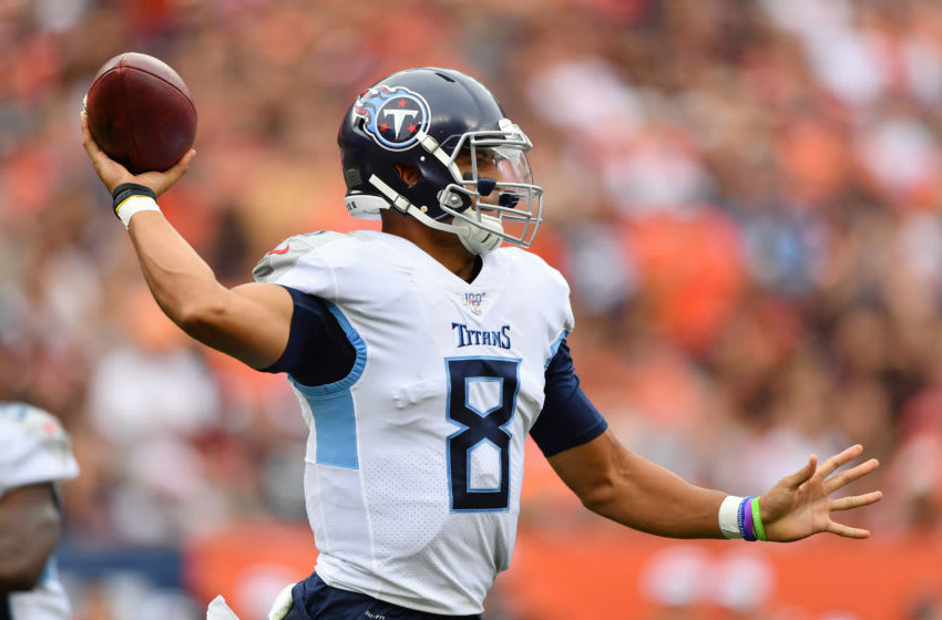 CLEVELAND, OH - SEPTEMBER 08: Quarterback Marcus Mariota #8 of the Tennessee Titans passes against the Cleveland Browns at FirstEnergy Stadium on September 08, 2019 in Cleveland, Ohio. (Photo by Jamie Sabau/Getty Images)