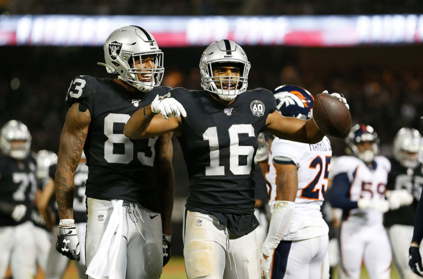 OAKLAND, CALIFORNIA - SEPTEMBER 09: Tyrell Williams #16 of the Oakland Raiders reacts after making a play for first down in the fourth quarter against the Denver Broncos at RingCentral Coliseum on September 09, 2019 in Oakland, California. (Photo by Lachlan Cunningham/Getty Images)