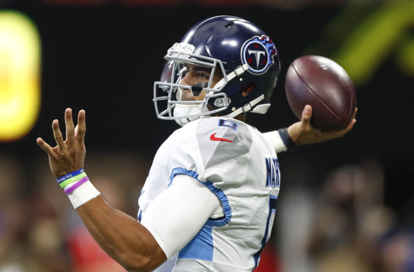 ATLANTA, GA - SEPTEMBER 29: Marcus Mariota #8 of the Tennessee Titans passes during the first half of an NFL game against the Atlanta Falcons at Mercedes-Benz Stadium on September 29, 2019 in Atlanta, Georgia. (Photo by Todd Kirkland/Getty Images)