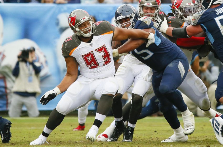 NASHVILLE, TENNESSEE - OCTOBER 27: Ndamukong Suh #93 of the Tampa Bay Buccaneers plays against the Tennessee Titans at Nissan Stadium on October 27, 2019 in Nashville, Tennessee. (Photo by Frederick Breedon/Getty Images)