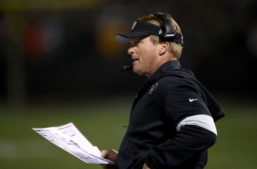 OAKLAND, CALIFORNIA - NOVEMBER 07: Head coach Jon Gruden of the Oakland Raiders looks on from the sidelines during the game against the Los Angeles Chargers at RingCentral Coliseum on November 07, 2019 in Oakland, California. (Photo by Ezra Shaw/Getty Images)