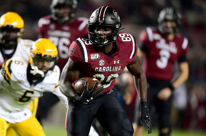 COLUMBIA, SOUTH CAROLINA - NOVEMBER 09: Bryan Edwards #89 of the South Carolina Gamecocks in the second half during their game against the Appalachian State Mountaineers at Williams-Brice Stadium on November 09, 2019 in Columbia, South Carolina. (Photo by Jacob Kupferman/Getty Images)