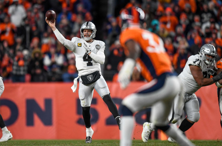 DENVER, CO - DECEMBER 29: Derek Carr #4 of the Oakland Raiders passes against the Denver Broncos in the fourth quarter of a game at Empower Field at Mile High on December 29, 2019 in Denver, Colorado. (Photo by Dustin Bradford/Getty Images)