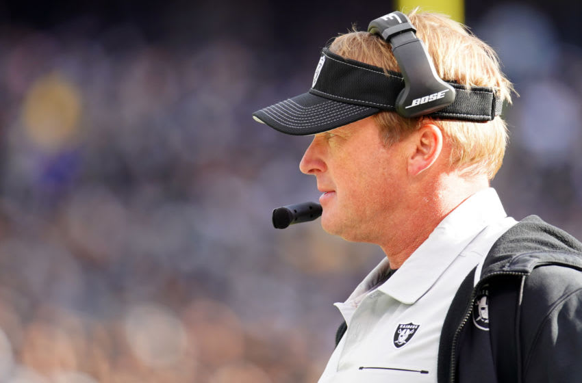 OAKLAND, CALIFORNIA - DECEMBER 15: Head coach Jon Gruden of the Oakland Raiders looks on from the side lines during the first half against the Jacksonville Jaguars at RingCentral Coliseum on December 15, 2019 in Oakland, California. (Photo by Daniel Shirey/Getty Images)