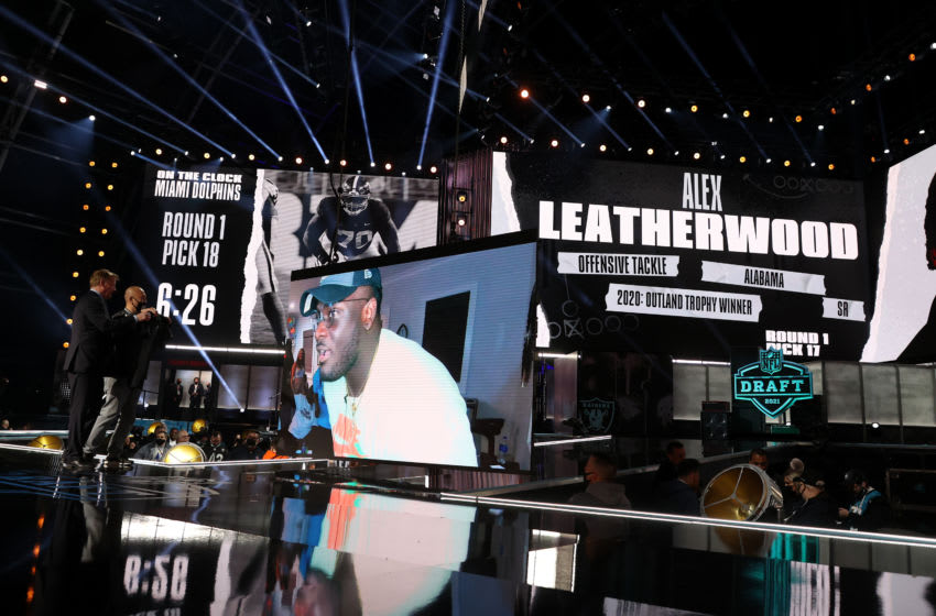 CLEVELAND, OHIO - APRIL 29: Alex Leatherwood is selected 17th by the Las Vegas Raiders during round one of the 2021 NFL Draft at the Great Lakes Science Center on April 29, 2021 in Cleveland, Ohio. (Photo by Gregory Shamus/Getty Images)