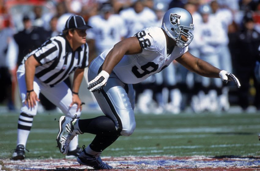 8 Oct 2000: Darrell Russell #98 of the Oakland Raiders moves on the field during the game against the San Francisco 49ers at 3 Com Park in San Francisco, California. The Raiders defeated the 49ers 34-28.Mandatory Credit: Tom Hauck /Allsport