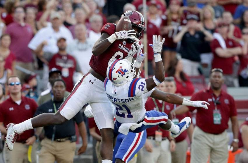 COLUMBIA, SC - SEPTEMBER 23: Bryan Edwards #89 of the South Carolina Gamecocks catches a pass over Amik Robertson #21 of the Louisiana Tech Bulldogs uring their game at Williams-Brice Stadium on September 23, 2017 in Columbia, South Carolina. (Photo by Streeter Lecka/Getty Images)