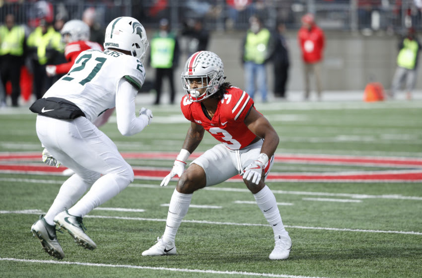 COLUMBUS, OH - NOVEMBER 11: Damon Arnette #3 of the Ohio State Buckeyes in action during a game against the Michigan State Spartans at Ohio Stadium on November 11, 2017 in Columbus, Ohio. Ohio State won 48-3. (Photo by Joe Robbins/Getty Images)