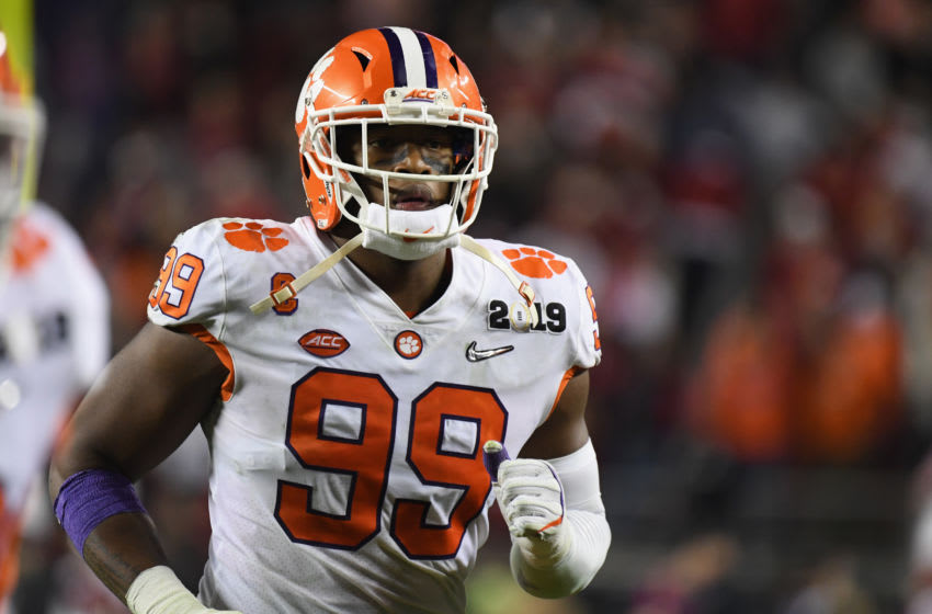 SANTA CLARA, CA - JANUARY 07: Clelin Ferrell #99 of the Clemson Tigers react against the Alabama Crimson Tide in the CFP National Championship presented by AT&T at Levi's Stadium on January 7, 2019 in Santa Clara, California. (Photo by Thearon W. Henderson/Getty Images)