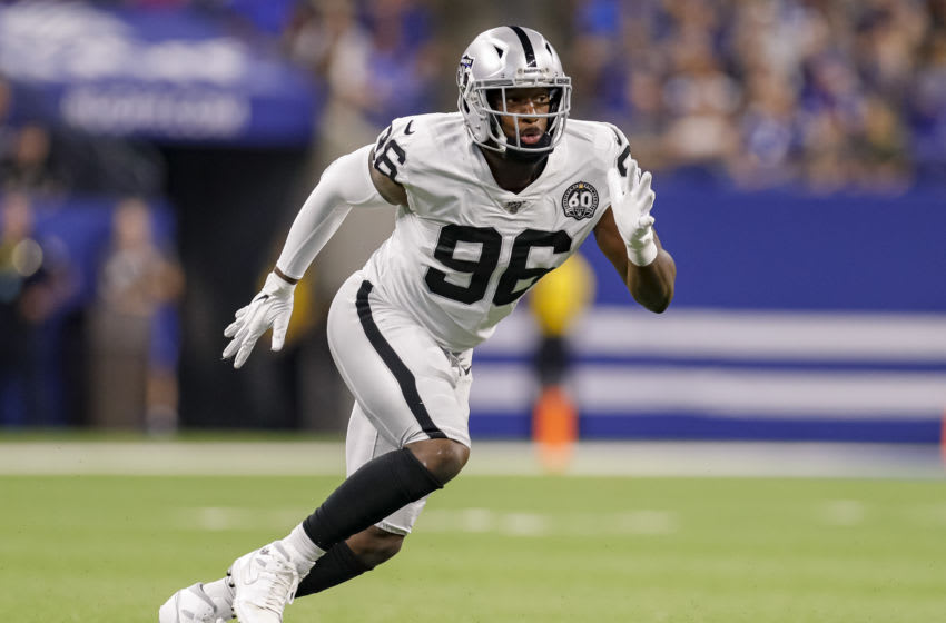 INDIANAPOLIS, IN - SEPTEMBER 29: Clelin Ferrell #96 of the Oakland Raiders rushes during the game against the Indianapolis Colts at Lucas Oil Stadium on September 29, 2019 in Indianapolis, Indiana. (Photo by Michael Hickey/Getty Images)
