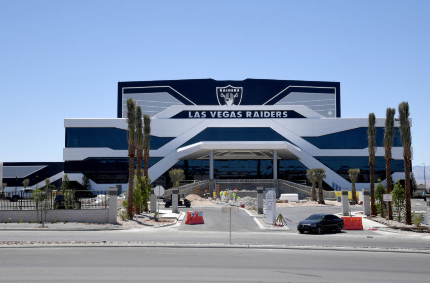HENDERSON, NEVADA - JUNE 10: Construction continues at the 336,000-square-foot Las Vegas Raiders Headquarters/Intermountain Healthcare Performance Center on June 10, 2020 in Henderson, Nevada. The site will serve as the team's practice facility and will include three outdoor football fields, a 150,000-square-foot field house with one-and-a-half indoor football fields, a three-story office area, and a 50,000-square-foot performance center. (Photo by Ethan Miller/Getty Images)