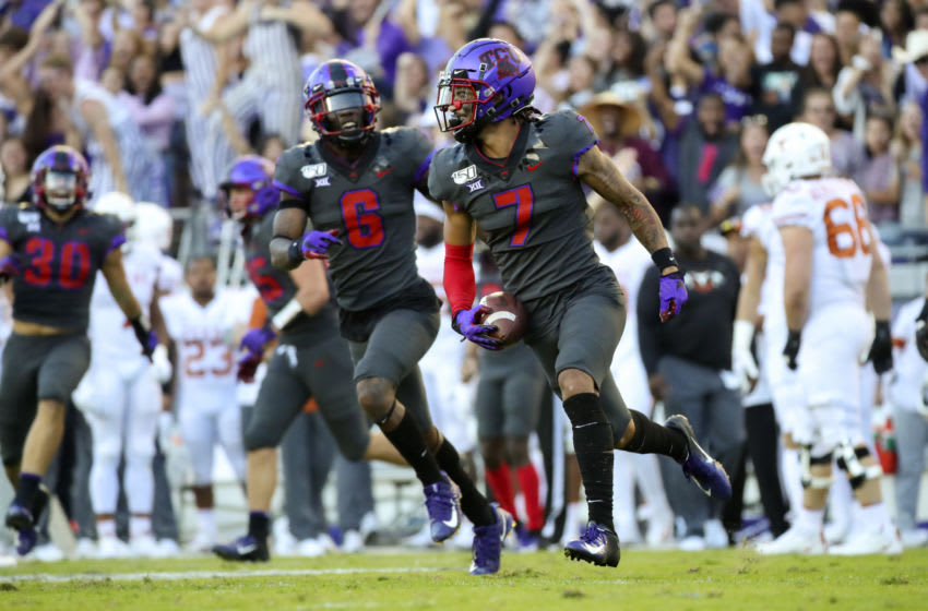 Oct 26, 2019; Fort Worth, TX, USA; TCU Horned Frogs safety Trevon Moehrig (7) reacts after making an interception during the third quarter against the Texas Longhorns at Amon G. Carter Stadium. Mandatory Credit: Kevin Jairaj-USA TODAY Sports
