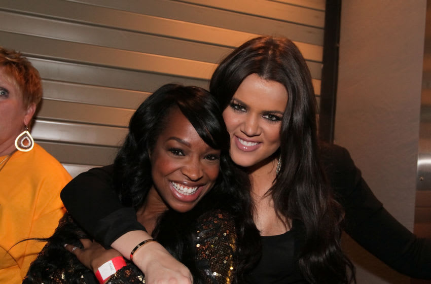 LOS ANGELES, CA - JUNE 17: Khloe Kardashian (R) and Malika Haqq attend Game Seven of the NBA playoff finals between the Boston Celtics and the Los Angeles Lakers during the 2010 NBA Playoff on Jun 17, 2010 in Los Angeles, California. (Photo by Noel Vasquez/Getty Images)