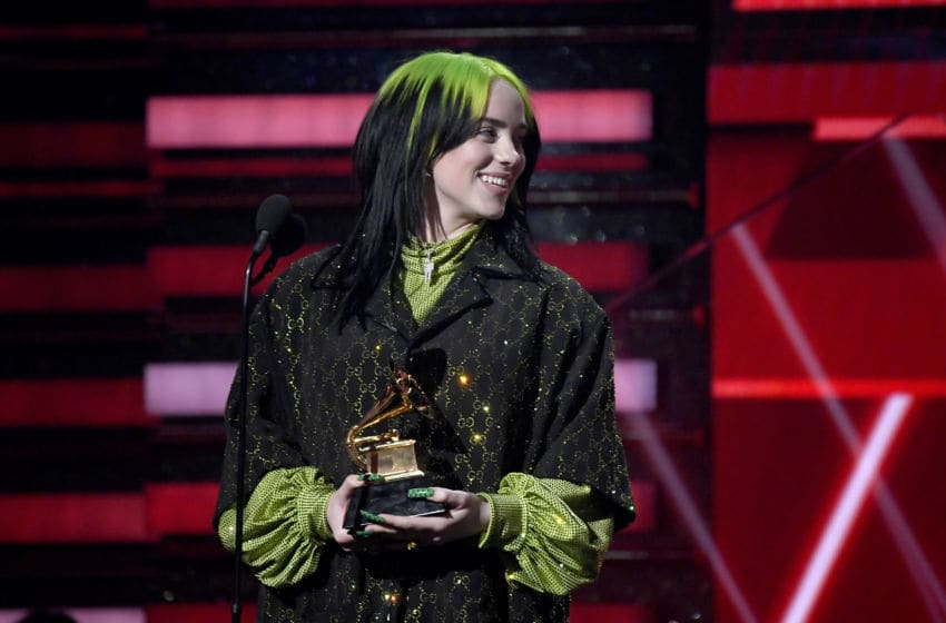 LOS ANGELES, CALIFORNIA - JANUARY 26: Billie Eilish accepts the Best New Artist award onstage during the 62nd Annual GRAMMY Awards at Staples Center on January 26, 2020 in Los Angeles, California. (Photo by Kevork Djansezian/Getty Images)