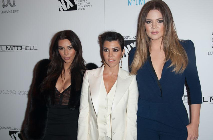 NEW YORK, NY - FEBRUARY 16: Kim Kardashian, Kourtney Kardashian and Khloe Kardashian attend Generation NXT Charity Benefit at 1OAK on February 16, 2014 in New York City. (Photo by Dave Kotinsky/Getty Images)