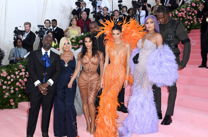 The Kardashians: Kris Jenner, Kim Kardashian-West, Kanye West, Kendall Jenner, Kylie Jenner and Travis Scott at the 2019 Met Gala (Photo by Karwai Tang/Getty Images)