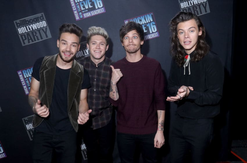 Singers Liam Payne, Niall Horan, Louis Tomlinson and Harry Styles of One Direction (Photo by Mark Davis/DCNYRE2016/Getty Images for dcp)