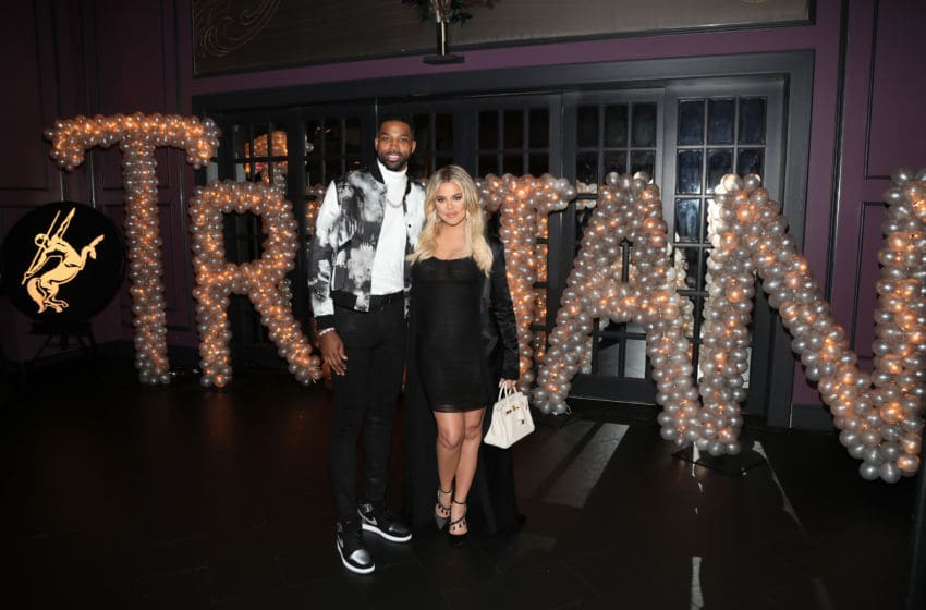 Tristan Thompson and Khloe Kardashian pose for a photo (Photo by Jerritt Clark/Getty Images for Remy Martin )
