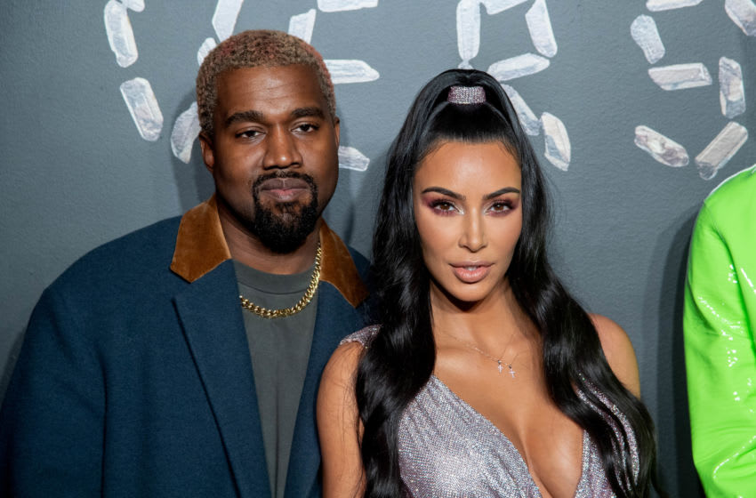 NEW YORK, NEW YORK - DECEMBER 02: Kanye West and Kim Kardashian West attend the the Versace fall 2019 fashion show at the American Stock Exchange Building in lower Manhattan on December 02, 2018 in New York City. (Photo by Roy Rochlin/Getty Images)