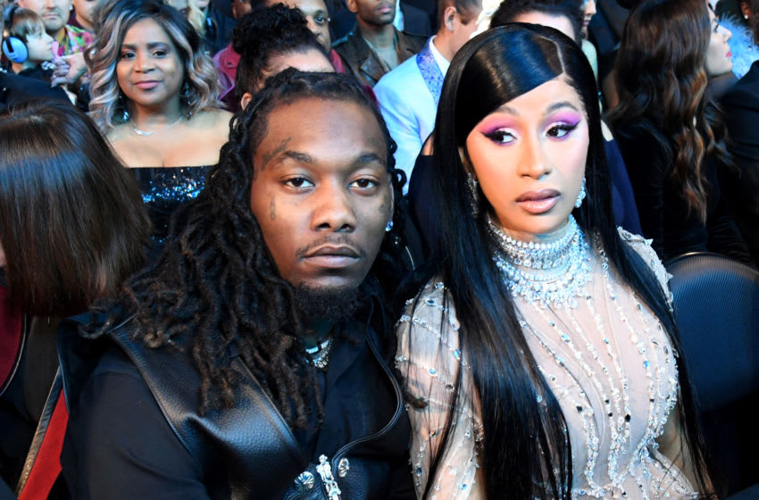 LOS ANGELES, CALIFORNIA - JANUARY 26: Offset (L) and Cardi B during the 62nd Annual GRAMMY Awards at STAPLES Center on January 26, 2020 in Los Angeles, California. (Photo by Kevin Mazur/Getty Images for The Recording Academy)