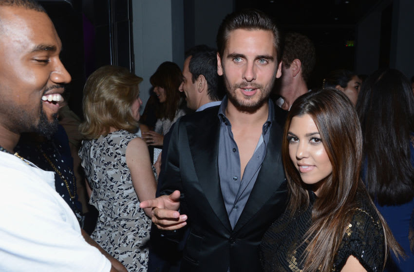 MIAMI BEACH, FL - DECEMBER 06: Kanye West, Scott Disick and Kourtney Kardashian attend the celebration of Dom Perignon Luminous Rose at Wall at W Hotel on December 6, 2012 in Miami Beach, Florida. (Photo by Dimitrios Kambouris/Getty Images for Dom Perignon)