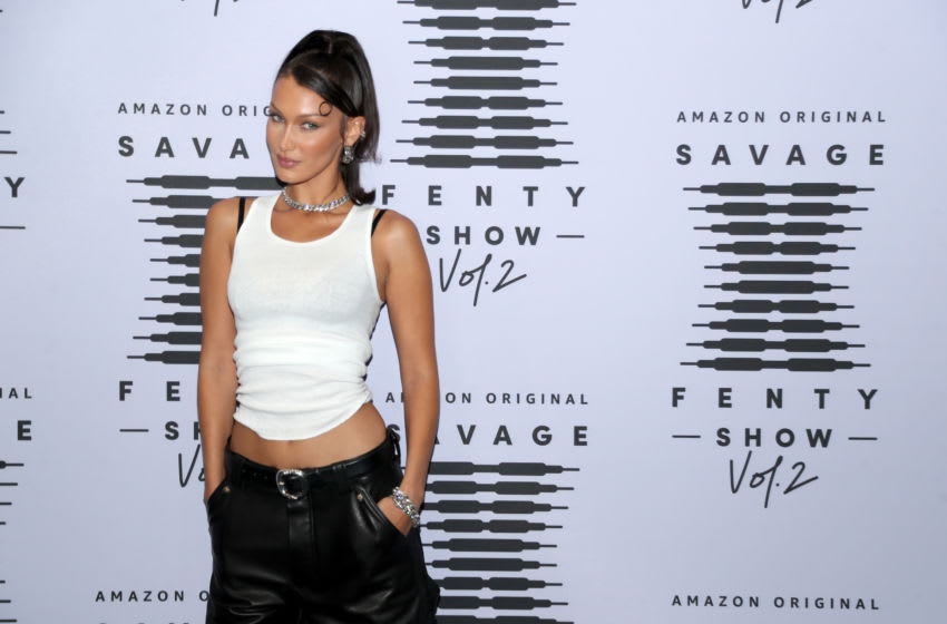 LOS ANGELES, CALIFORNIA - OCTOBER 02: In this image released on October 2, Bella Hadid attends Rihanna's Savage X Fenty Show Vol. 2 presented by Amazon Prime Video at the Los Angeles Convention Center in Los Angeles, California; and broadcast on October 2, 2020. (Photo by Jerritt Clark/Getty Images for Savage X Fenty Show Vol. 2 Presented by Amazon Prime Video)