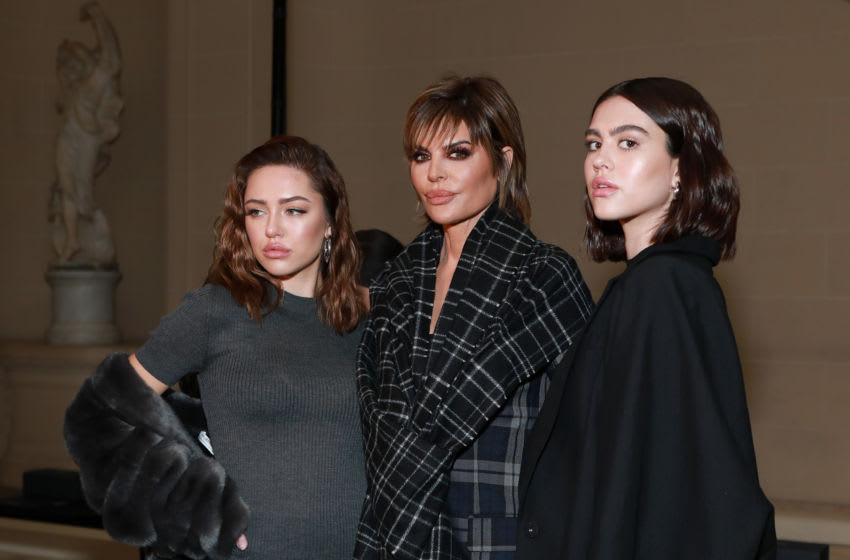 NEW YORK, NEW YORK - FEBRUARY 11: (L-R) Delilah Belle Hamlin, Lisa Rinna and Amelia Gray Hamlin attend the Vera Wang fashion show during February 2020 - New York Fashion Week on February 11, 2020 in New York City. (Photo by Jason Mendez/Getty Images for NYFW: The Shows)