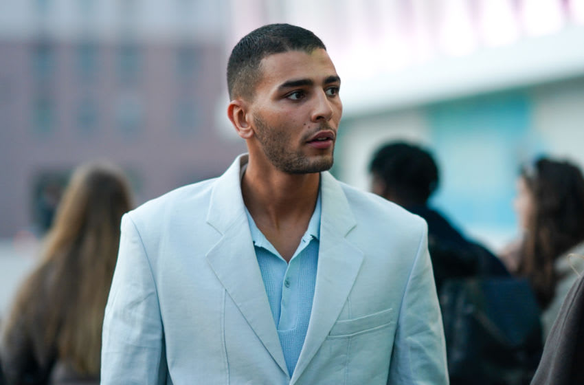 PARIS, FRANCE - JANUARY 18: Younes Bendjima wears a blue shirt, a blue jacket, outside Jacquemus, during Paris Fashion Week - Menswear F/W Fall/Winter 2020-2021 on January 18, 2020 in Paris, France. (Photo by Edward Berthelot/Getty Images)
