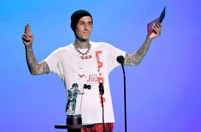 UNSPECIFIED - AUGUST 2020: Travis Barker speaks onstage during the 2020 MTV Video Music Awards, broadcast on Sunday, August 30th 2020. (Photo by Kevin Winter/MTV VMAs 2020/Getty Images for MTV)