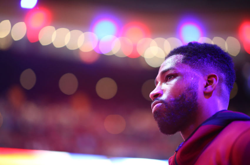 BOSTON, MA - MAY 13: Tristan Thompson #13 of the Cleveland Cavaliers warms up prior to Game One of the Eastern Conference Finals against the Boston Celtics Tristan Thompson of the 2018 NBA Playoffs at TD Garden on May 13, 2018 in Boston, Massachusetts. (Photo by Adam Glanzman/Getty Images)