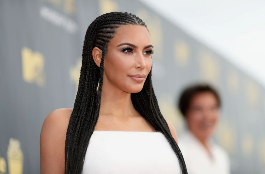 SANTA MONICA, CA - JUNE 16: TV personality Kim Kardashian attends the 2018 MTV Movie And TV Awards at Barker Hangar on June 16, 2018 in Santa Monica, California. (Photo by Christopher Polk/Getty Images for MTV)
