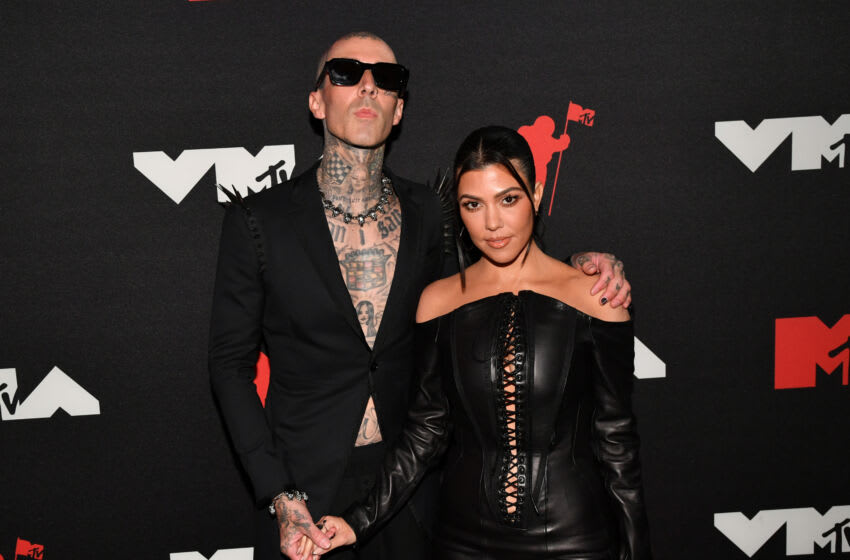 NEW YORK, NEW YORK - SEPTEMBER 12: (L-R) Travis Barker and Kourtney Kardashian attend the 2021 MTV Video Music Awards at Barclays Center on September 12, 2021 in the Brooklyn borough of New York City. (Photo by Jeff Kravitz/MTV VMAs 2021/Getty Images for MTV/ViacomCBS)