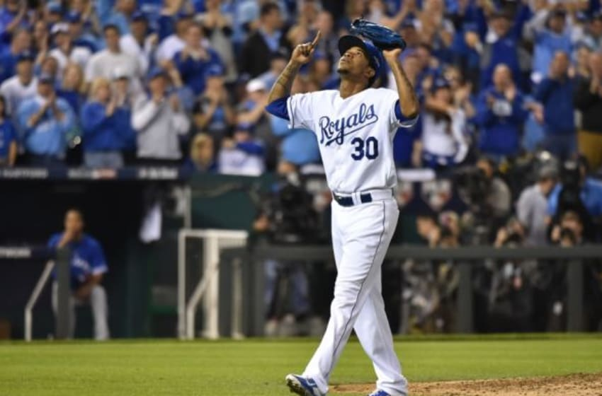 Oct 23, 2015; Kansas City, MO, USA; Kansas City Royals starting pitcher Yordano Ventura (30) reacts as he is relieved in the sixth inning against the Toronto Blue Jays in game six of the ALCS at Kauffman Stadium. Mandatory Credit: Peter G. Aiken-USA TODAY Sports