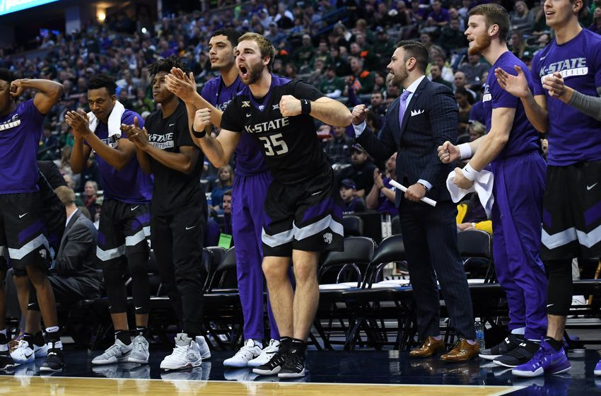 Dec 17, 2016; Denver, CO, USA; Members of the Kansas State Wildcats react to a score in the second half against the Colorado State Rams at the Pepsi Center. The Wildcats defeated the Rams 89-70. Mandatory Credit: Ron Chenoy-USA TODAY Sports