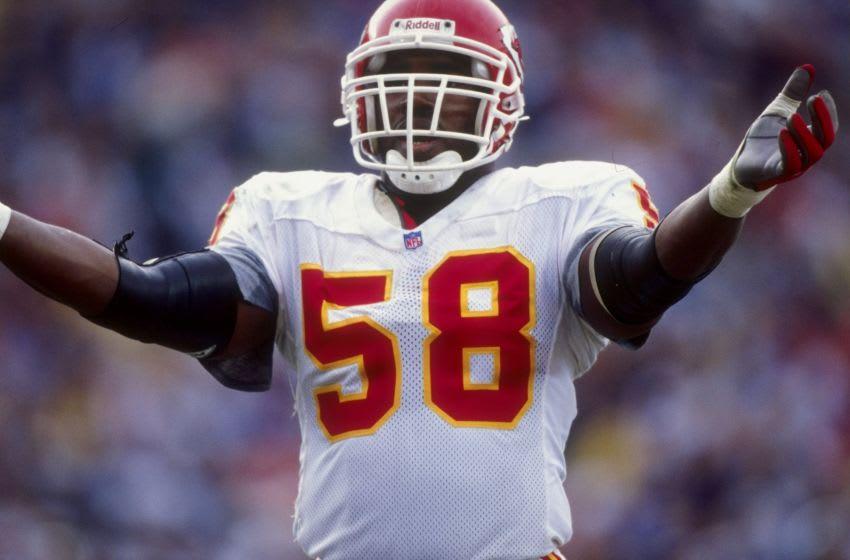 Outside linebacker Derrick Thomas #58 of the Kansas City Chiefs - Mandatory Credit: Jed Jacobsohn /