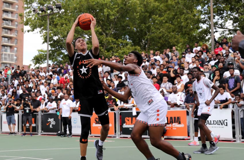 NEW YORK, NY - AUGUST 18: RJ Hampton #5 of Team Ramsey heads for the net as Josh Christopher #3 of Team Stanley defends during the SLAM Summer Classic 2018 at Dyckman Park on August 18, 2018 in New York City. (Photo by Elsa/Getty Images)