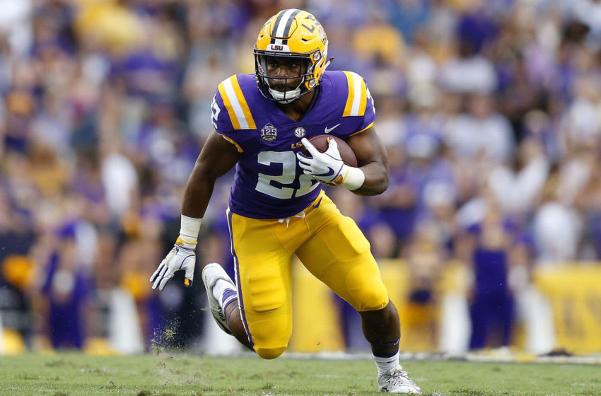 Clyde Edwards-Helaire #22 of the LSU Tigers (Photo by Jonathan Bachman/Getty Images)